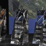 Troféus entregues aos ganhadores do prêmio