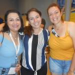 Valquíria Schincariol, da Aton Turismo, com Izabella Miranda, da Virazom, e Samila Santos, da Optur
