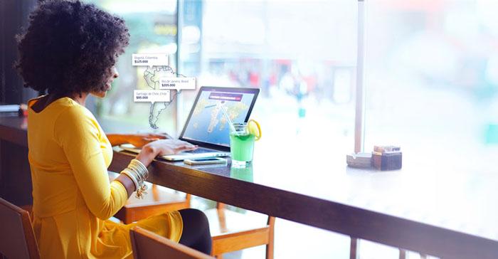 Passageiro pode visualizar diversos destinos no mapa, escolher diferentes datas e filtrar as opções de viagem de acordo com os seus interesses.