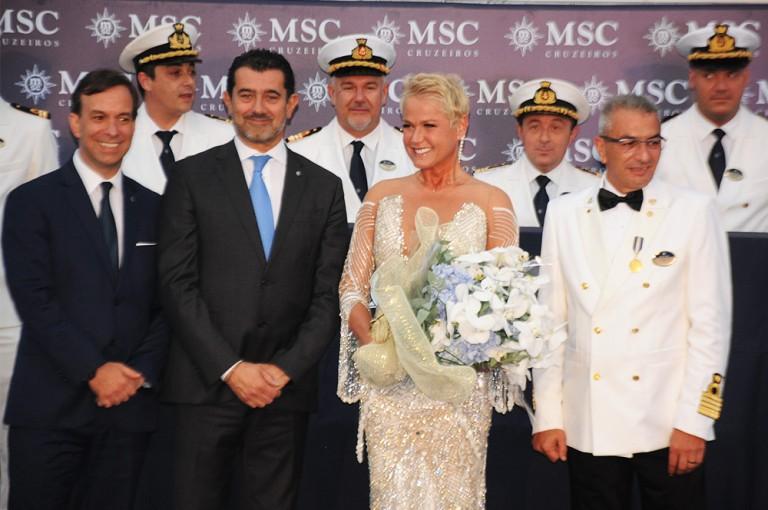 Adrian Ursilli, diretor da MSC no Brasil, Gianni Onorato, CEO da MSC, Xuxa Meneghel, madrinha da MSC no Brasil, e Giuseppe Galano, comandante do MSC Seaview