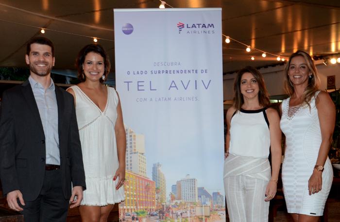 Andre Sena, da Latam, Carolina Dias, Renata Vuono e Renata Cohen, do Turismo de Israel