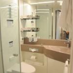 Banheiro da cabine com varanda do Seaview