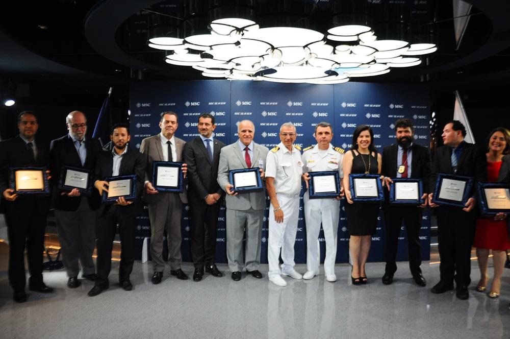 Cerimônia de troca de placas reuniu autoridades a bordo do MSC Seaview em Santos