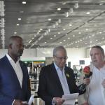 Steven Martina, ministro do Desenvolvimento Econômico de Curaçao, José Roberto Maluf, presidente do Grupo Spring, e Steven van der Heijden, CEO da Corendon Airlines