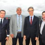 Flávio Peruzzi, da Clia Brasil, Gustavo Andrade, do Terminal Portuário de Salvador, com Marco Ferraz e João Tomaz, da Clia Brasil