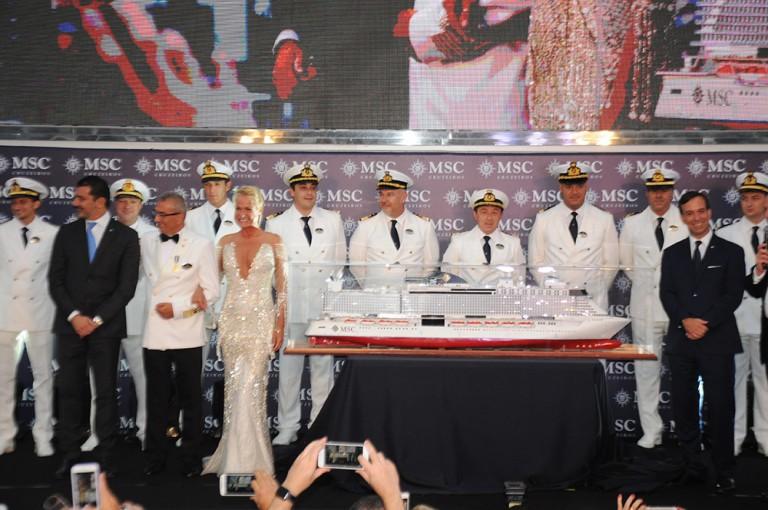 Gianni Onorato, CEO da MSC, Giuseppe Galano, comandante do MSC Seaview, Xuxa Meneghel, madrinha da MSC no Brasil, e Adrian Ursilli, diretor da MSC no Brasil