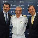Gianni Onorato, CEO da MSC, Giuseppe Galano, comandante do MSC Seaview, e Adrian Ursilli, Country Manager da MSC no Brasil