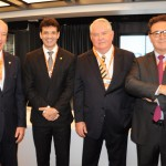 Herculano Passos, da Frentur, Marcelo Álvaro, futuro ministro do Turismo, Roy Taylor, presidente do M&E, e Vinicius Lummertz, atual ministro do Turismo