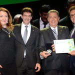Magda Nassar, da Braztoa, Marcelo Álvaro, futuro ministro do Turismo, Alexandre Sampaio, da FBHA, e Vinicius Lummertzs, ministro do Turismo