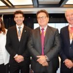 Magda Nassar, presidente da Braztoa, Marcelo Álvaro, futuro ministro, Vinicius Lummertz, atual ministro do Turismo, e Herculano Passos, da Frentur