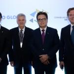 Marcelo Álvaro, futuro ministro do Turismo, Walfrido dos Mares Guia, primeiro ministro do Turismo do Brasil, Vinicius Lummertsz, ministro do Turismo, e Marx Beltrão, ex ministro do Turismo