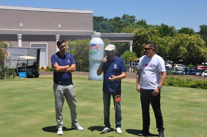 Miguel Palhota, gerente de golfe, Guilherme Paulus, presidente da GJP e Gilmar Piolla, Secretário de Turismo de Foz, na abertura do evento