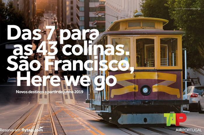 Anúncio do novo voo da Tap para São Francisco