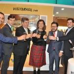 Alisson Andrade, Eduardo Tiburtius, Otaviavo Maroja, Teté Bezerra, Gilson Lira e Diogo Beltrão comemoram o início da terceira frequência da Air Europa
