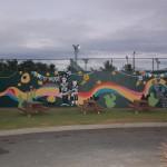 Lampião e Maria Bonita enfeitam o mural na área de lanche e descanso