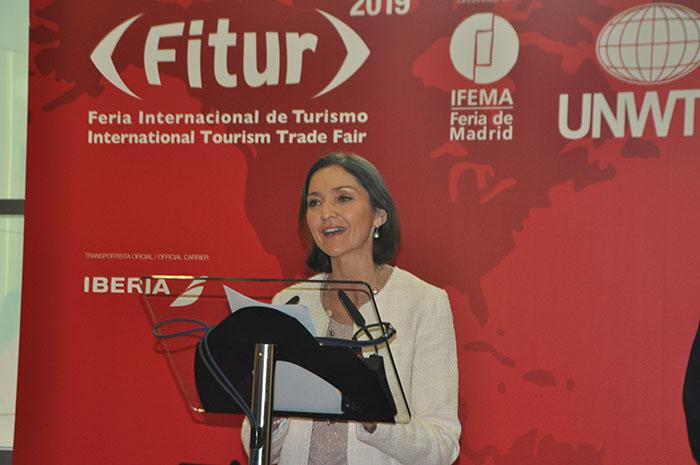 Reyes Maroto, ministra da Indústria, Comércio e Turismo da Espanha, durante a abertura da Fitur 2019.
