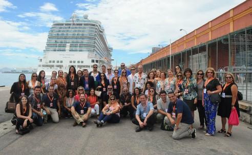 Royal Princess estreia no Brasil e recebe visita de agentes, operadores e equipe Discover; fotos