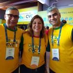 Gildo Galdino, CVC atendimento as agências ES, Camila Galdino, franqueada da CVC e Junior Serguey, Franqueado da CVC