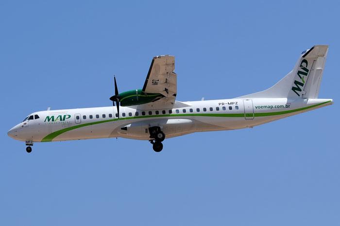 As aeronaves da MAP têm capacidade para transportar de 12 a 68 passageiros por voo