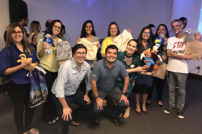 Martin Diniz, do SeaWorld, Andre Almeida do Visit Orlando e Grabriela Delai, da Disney