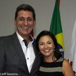 Rogério Siqueira, presidente do Beto Carrero World e do Conselho Estadual de Turismo, com Flavia Didomenico, presidente da Santur