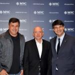 Kleber Silva, da Abreutur, Aldo Leone, CEO da Agaxtur, e Ignacio Hidalgo, da MSC
