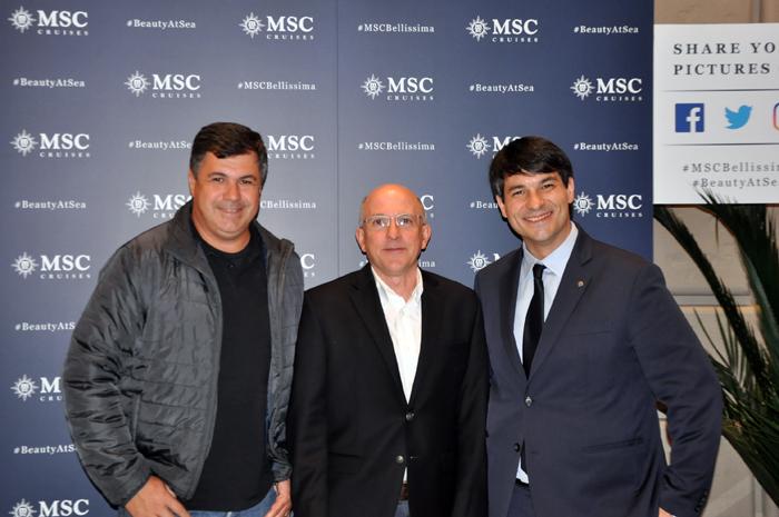 Kleber Silva, Gerente de Setor Marítimo da Abreutur, Aldo Leone, CEO da Agaxtur e Ignacio Hidalgo, diretor comercial da MSC Brasil