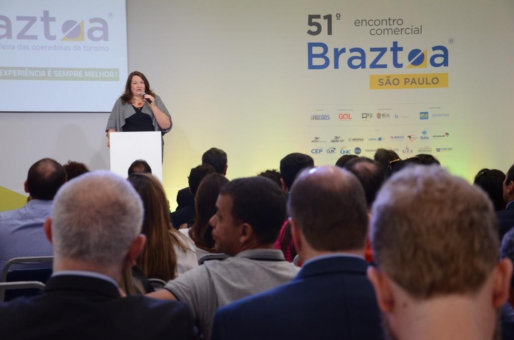 Magda Nassar, presidente da Braztoa durante a abertura do evento