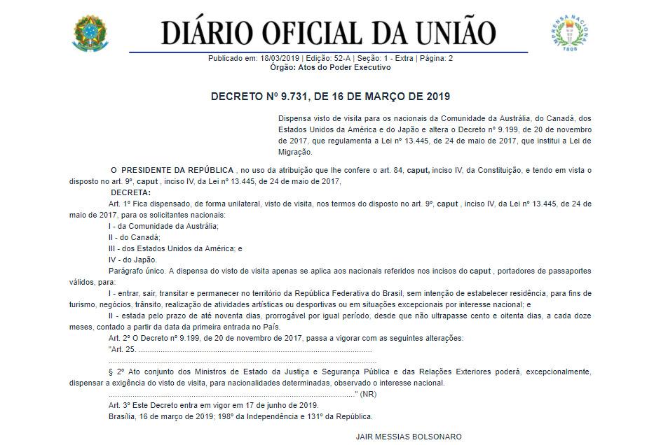 decreto isenção de vistos