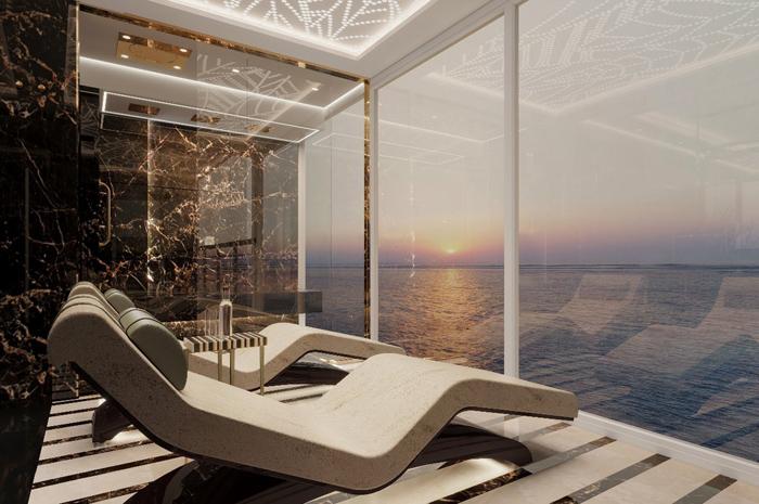 O navio contará com a Regent Suite, a maior suíte construída em um cruzeiro de luxo - com mais de 278m² de acomodações internas e uma varanda de 120 m²