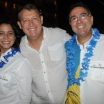 Aroldo Schultz, presidente da Schultz, com Claudia Pessoa e Filipe Pessoa, de Barra de São Miguel