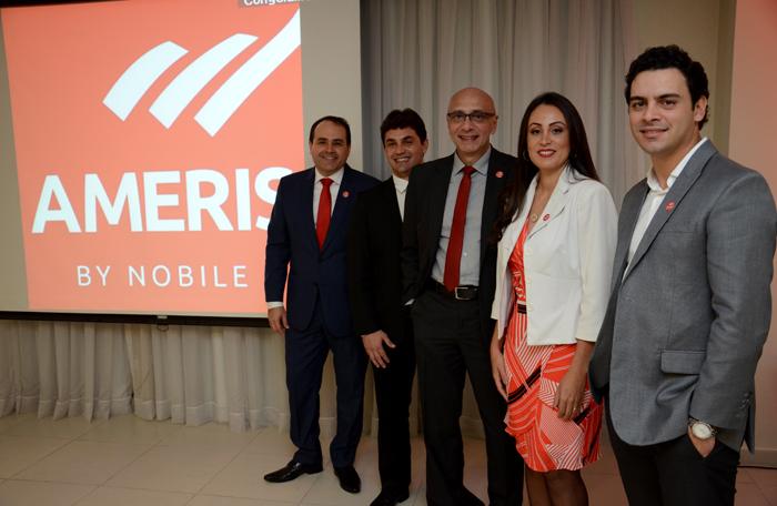 Roberto Bertino, Rodolpho Berardinelli, líder do HotelShop, Ricardo Pompeu, Adriana Paiva, líder da Ameris By Nobile, e Rafael Menna