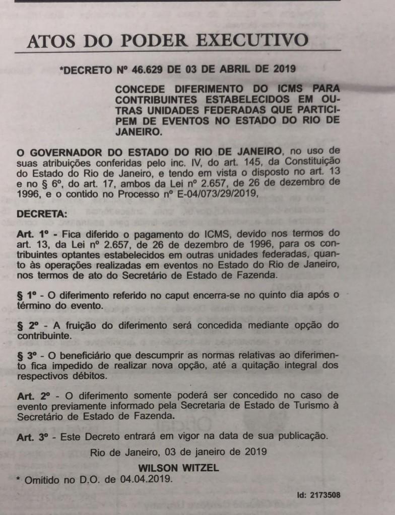 decreto diferimento de impostos em eventos RJ