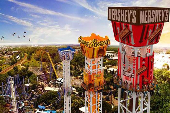 O maior parque temático de chocolate do mundo fica nos EUA e conta com mais de 70 atrações em 4 complexos