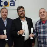 Frederico Levy, da Interpoint, Roberto Nedelciu, da Raidho e presidente da Braztoa, e Renato Carone, da Turnet