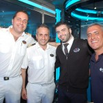 Yannis Kazalis, diretor de hotel, Gabriele Russo, imediato, Diego Sigoli, shop manager do MSC Seaside, com Marco Cardoso, da MSC Brasil