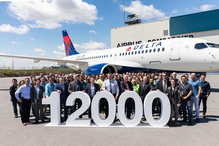 Airbus comemora entrega de sua 12.000ª aeronave, um A220-100, para a Delta Air Lines