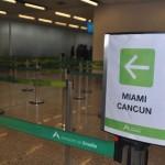 Anúncio do voo na fila do raio-x do Aeroporto de Brasília