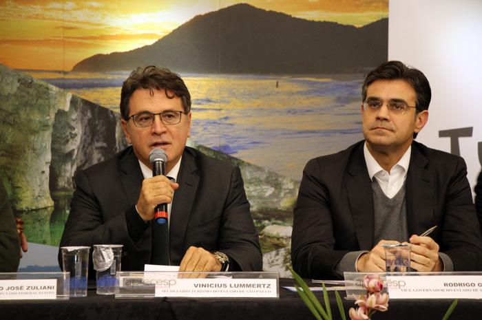 Vinicius Lummertz, Secretário Estadual de Turismo de São Paulo e Rodrigo Garcia, Vice Governador do Estado e São Paulo durante a reunião da APRECESP