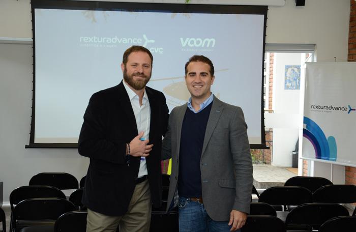 Luciano Guimarães, diretor geral da Rexturadvance, e Felipe Fonseca, diretor de desenvolvimento de negócios da Voom An Airbus Company