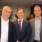 Sylvio Ferraz, da CVC, Adrian Ursilli, da MSC e Roberto Roman, da Travel Ace