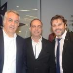 Sylvio Ferraz e Orlando Palhares, da CVC, e Rafael Sacomani, da MSC