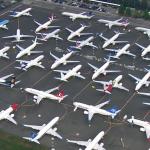 Imagem do estacionamento da Boeing, em Washington, repelto de 737s MAX