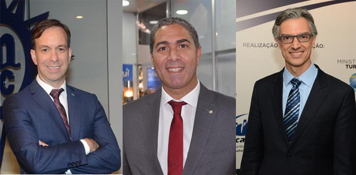 Adrian Ursilli, da MSC, Dário Rustico, da Costa, e Marco Ferraz, da Clia Brasil