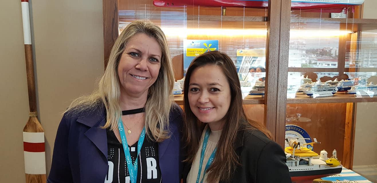 Adriana Cueffa (ABC Internacional) e Sheila Tahara (Pompeia Tur), ambas de Bauru