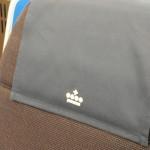 Detalhe da logo da KLM no assento da Classe Executiva