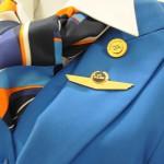 Detalhe do uniforme feminino da KLM