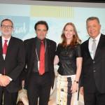 Geraldo Linzmeyer, da CHA, Milton Zuanazzi, da Abrastur, Maria Helena, do Sesc-RS, e Alexandre Sampaio, da CNC
