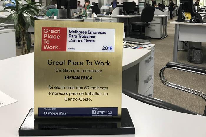 Inframerica foi escolhida uma das 50 melhores empresas para trabalhar no Centro-Oeste
