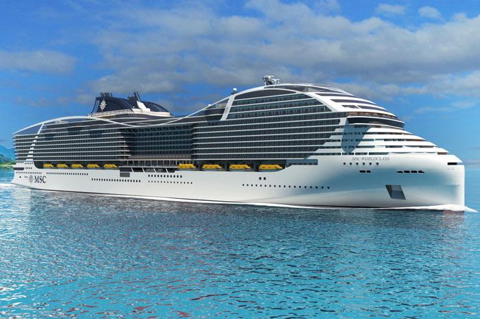 Indústria dos cruzeiros, que passou por uma revolução na última década, promete novas transformações nos próximos anos. Na foto o MSC World Class, navio que terá capacidade para mais de 7 mil hóspedes.